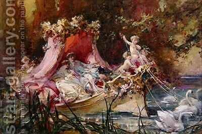 A Lovers' Barge Drawn by Swans by Maynard Brown - Reproduction Oil Painting