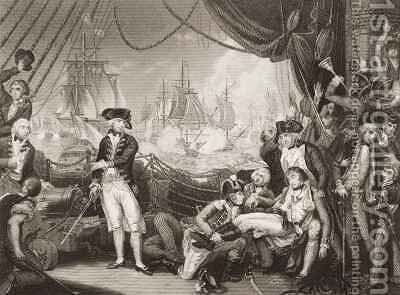Scene on the Deck of the Queen Charlotte, 1st June 1794 by (after) Brown, Mather - Reproduction Oil Painting