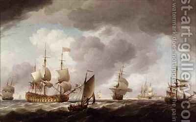 An English Vice-Admiral of the Red and his Squadron at Sea by Charles Brooking - Reproduction Oil Painting