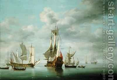 Warships Becalmed by Charles Brooking - Reproduction Oil Painting