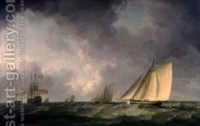 Cutter Close Hauled in a Fresh Breeze, with Other Shipping by Charles Brooking - Reproduction Oil Painting