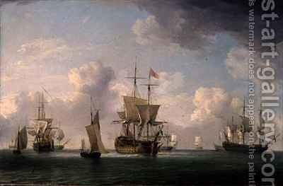 English Ships Under Sail in a Very Light Breeze by Charles Brooking - Reproduction Oil Painting