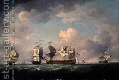 The Capture of the 'Marquis d'Antin' and the 'Louis Erasme' by Charles Brooking - Reproduction Oil Painting