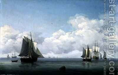 Fishing Boats in a Calm Sea by Charles Brooking - Reproduction Oil Painting
