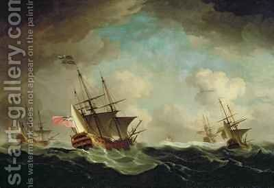 A Squadron Going to Windward by Charles Brooking - Reproduction Oil Painting
