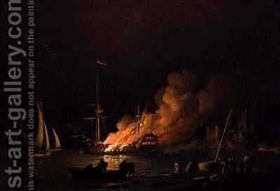 Ship on Fire at Night by Charles Brooking - Reproduction Oil Painting