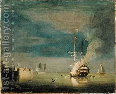 A Two-Decker on Fire at Night off a Fort by Charles Brooking - Reproduction Oil Painting