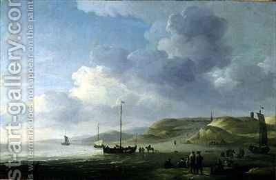 The Coast Near Scheveningen with Fishing Pinks on the Shore by Charles Brooking - Reproduction Oil Painting
