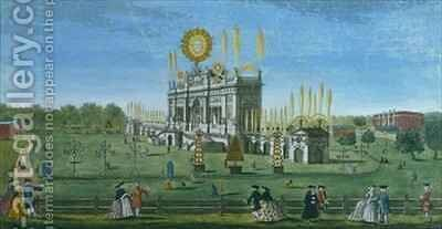 A Perspective View of the Building for the Fireworks in the Green Park, taken from the Reservoir by (after) Brookes, Richard - Reproduction Oil Painting