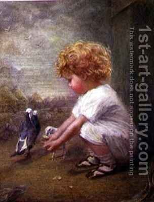 Little Girl feeding Pigeons by Catherine P. Brooker - Reproduction Oil Painting