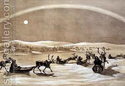 A Singular Appearance of the Northern Lights above a Laplander's Herd of Reindeer Crossing the Jerdis Javri by (after) Brooke, Sir Arthur de Capell - Reproduction Oil Painting