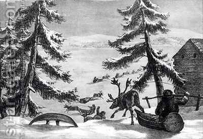 Reindeer-drawn sledges by (after) Brooke, Sir Arthur de Capell - Reproduction Oil Painting
