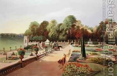 The Upper and Lower Terrace Gardens at Bowood by E. Adveno Brooke - Reproduction Oil Painting