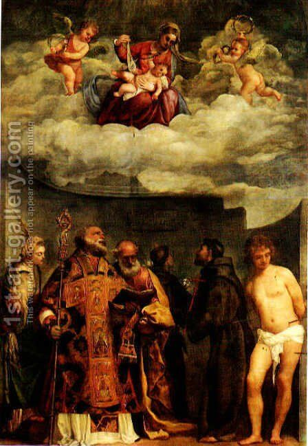 Madonna Of Frari by Tiziano Vecellio (Titian) - Reproduction Oil Painting