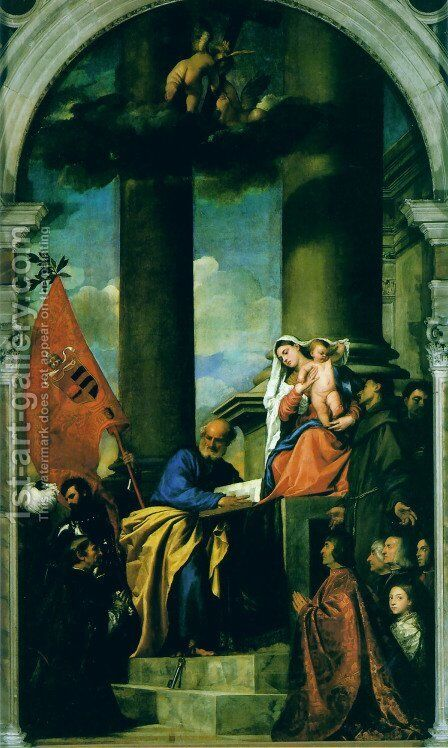 Madonna With Saints And Members Of The Pesaro Family by Tiziano Vecellio (Titian) - Reproduction Oil Painting