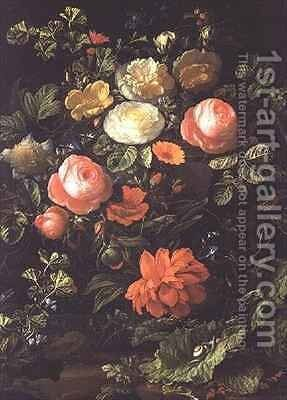 Still Life with Roses, Insects and Snails by Elias van den Broeck - Reproduction Oil Painting