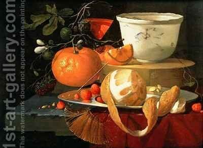 Still life of an orange, a lemon and strawberry on a pewter plate, a wan-li bowl behind by Elias van den Broeck - Reproduction Oil Painting