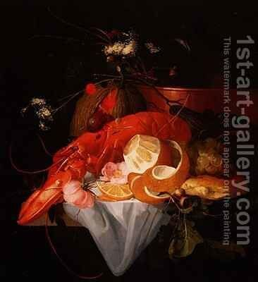 A Still Life with Lobster, Lemon and Grapes by Elias van den Broeck - Reproduction Oil Painting