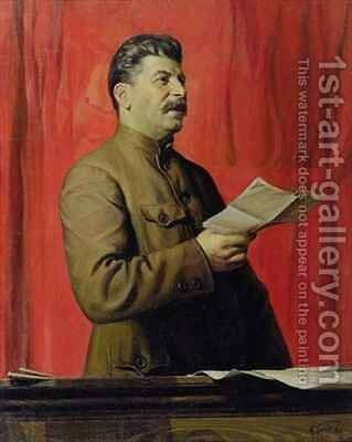 Portrait of Josif Stalin by Isaak Israilevich Brodsky - Reproduction Oil Painting