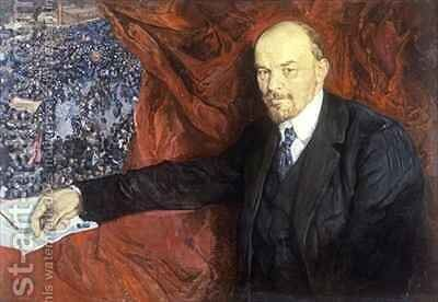 Vladimir Ilyich Lenin (1870-1924) and a Demonstration by Isaak Israilevich Brodsky - Reproduction Oil Painting