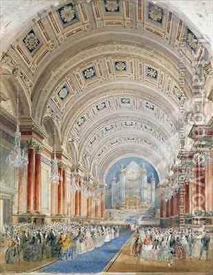 Interior Perspective, Leeds Town Hall by Cuthbert Brodrick - Reproduction Oil Painting