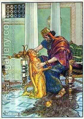 King Midas and his Daughter by Charles Edmund Brock - Reproduction Oil Painting