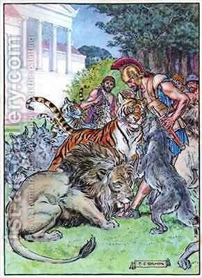 Eurylochus and the Lions by Charles Edmund Brock - Reproduction Oil Painting