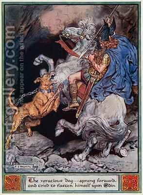 The voracious dog...sprang forward and tried to fasten himself upon Odin by Charles Edmund Brock - Reproduction Oil Painting