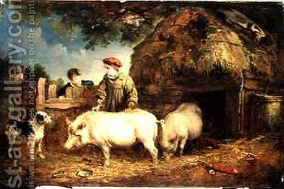 Feeding the Pigs by Edmund Bristow - Reproduction Oil Painting