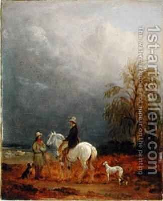 A Traveller and a Shepherd in a Landscape by Edmund Bristow - Reproduction Oil Painting