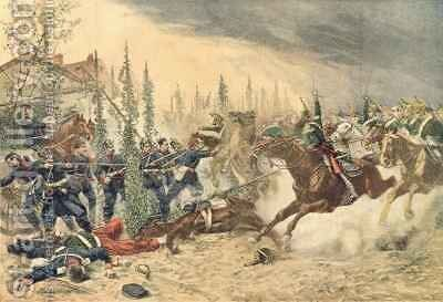 The Dragoons at the Battle of Gravelotte on the 16th August 1870 by (after) Brisset, Emile - Reproduction Oil Painting