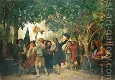 The Winner of the Cock Dance by Gustav Brion - Reproduction Oil Painting
