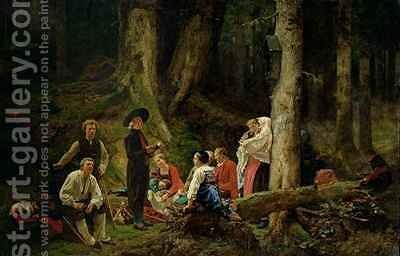 The Pilgrims from the Abbey of St. Odile by Gustav Brion - Reproduction Oil Painting