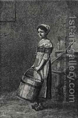 Cosette Carrying a Bucket by (after) Brion, Gustave - Reproduction Oil Painting