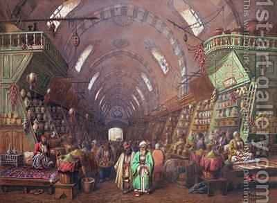 A Bazaar in Constantinople by Jean Brindesi - Reproduction Oil Painting
