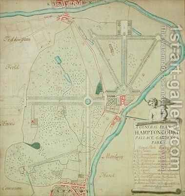 A General Plan of Hampton Court Palace Gardens and Parks by Charles Bridgeman - Reproduction Oil Painting