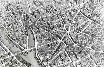 Plan of Paris, known as the 'Plan de Turgot' 7 by (after) Bretez, Louis - Reproduction Oil Painting