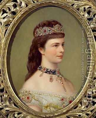 Portrait of the Empress Elizabeth of Austria (1837-98), wife of Franz Joseph (1830-1916) by Theodor Breidwiser or Breitwieser - Reproduction Oil Painting