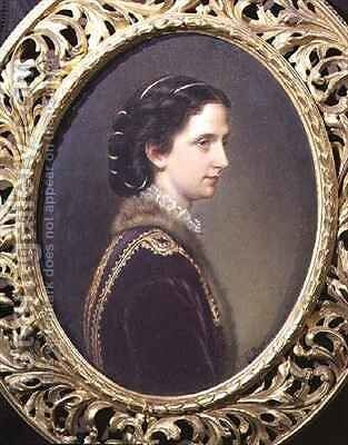 Portrait of Princess Maria Annunziata of Bourbon (1843-71) wife of Archduke Karl Ludwig of Austria by Theodor Breidwiser or Breitwieser - Reproduction Oil Painting