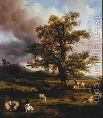 Animals Resting around a Large Oak Tree by Jacques-Raymond Brascassat - Reproduction Oil Painting