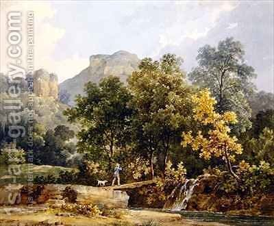 Hunter crossing a bridge over a river by Jacques-Raymond Brascassat - Reproduction Oil Painting