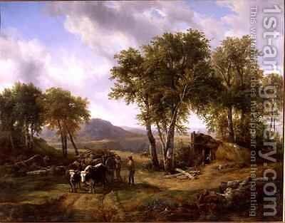 Woodcutters Leaving the Forest at Millau by Jacques-Raymond Brascassat - Reproduction Oil Painting