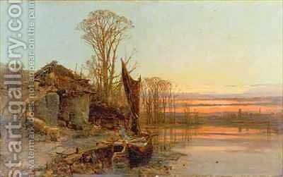 Landscape with a Ruined Cottage at Sunset by Charles Brooke Branwhite - Reproduction Oil Painting