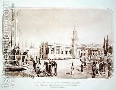 The factory and administration building in the port of Beirut by (after) Brandon, Raoul - Reproduction Oil Painting