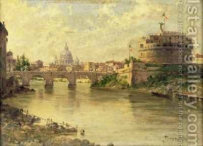 Castel Sant'Angelo and St. Peter's from the Tiber by Antoinetta Brandeis - Reproduction Oil Painting