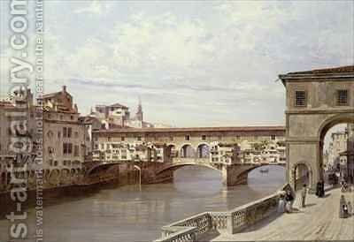 The Pontevecchio, Florence by Antoinetta Brandeis - Reproduction Oil Painting