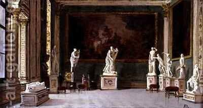 Sculpture Gallery at the Pitti Palace, Florence by Antoinetta Brandeis - Reproduction Oil Painting