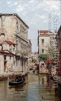 Gondolas on a Venetian Canal 'Rio de San Aportino' by Antoinetta Brandeis - Reproduction Oil Painting
