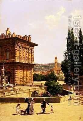 By the Pitti Palace, Florence by Antoinetta Brandeis - Reproduction Oil Painting