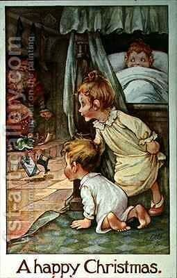 Postcard depicting Father Christmas and the Children's Stockings by A.L. Bowley - Reproduction Oil Painting